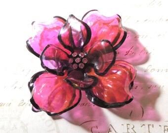 """Huge Flower Brooch Pin Pink Rhinestones 4"""" Vintage Jewelry"""