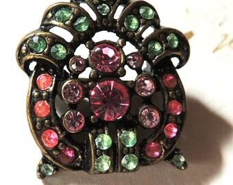 Vintage Rhinestone Brooch Pin Pink Green Art Deco Jewelry