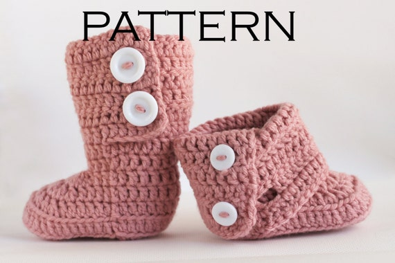 Tall Fold Over Baby Boot Crochet Pattern - PDF