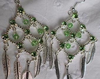 Dangle Earrings Swarovski Crystal Peridot Light Green with Feathers