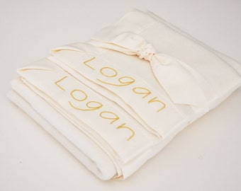 Organic Baby Blanket -- Ivory -- Free Personalization