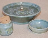 """Cat Fountain Set with Treat Jar and Food Bowl - 11.5 Inch Diameter -""""Waterlily"""""""
