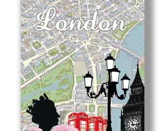 My London - Mixed media fine art print. A3 42 x 29.7cm - 16.5 x 11.7 in
