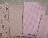 Cotton Fabric Scrap - Pink Dot Plaid Rose bundle