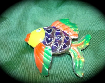 1990s Best Brand Tropical Fish Pin and Pendant Combination.