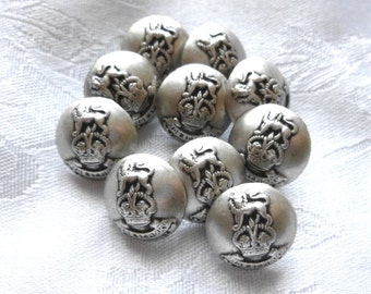 Vintage Silver Lion Buttons ~ Coat of Arms, Family Crest ~  Metal Loop shank ~ 10 in Lot ~ Silver Metal buttons ~ Lions ~Crafts and Jewelry
