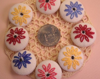 Buttons Collection of 8 Vintage Hand Embroidery