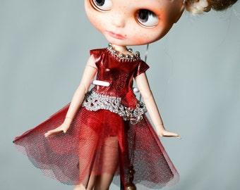 Parisien Dress Blythe OOAK Blythe Outfit Hat Blythe Glamour dress Sparkle Blythe dress Red panties dress Blythe