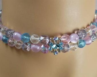 Aquamarine Purple Crystal Choker Necklace Malibu Blue Lilac Orchid Lavender Pink Aqua Turquoise Pastels Rhinestones Matching Earrings