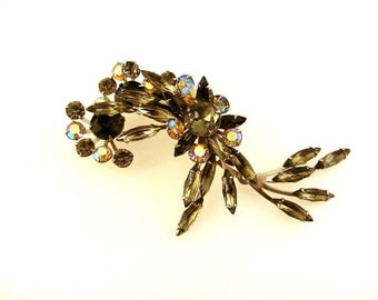 Vintage Rhinestone Brooch Large Smoky Marquis Flower Pin
