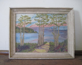 lakeside trees, vintage framed painting - tall pine trees, sunset, cabin art, happy trees, amateur, forest, lake