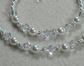 Flower Girl Gift Jewelry Swarovski Pearl Crystal Necklace Bracelet Set Wedding Clear Swarovski Crystals White Pearl Necklace Bracelet B116