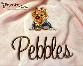 Yorkshire Terrier Embroidered Dog Blanket