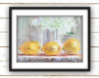 Three Lemons - Painting Print