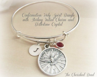 Confirmation holy Spirit Bangle Bracelet with Sterling Silver Initial Charm and Birthstone Crystal