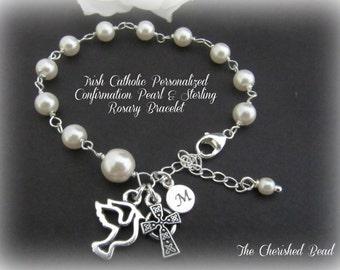Personalized Swarovski Pearl & Sterling Irish Catholic Confirmation Rosary Bracelet - Holy Spirit Charm