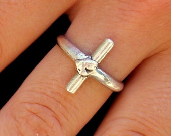 Sideways Cross Ring Artisan Sterling Silver Religious Ring
