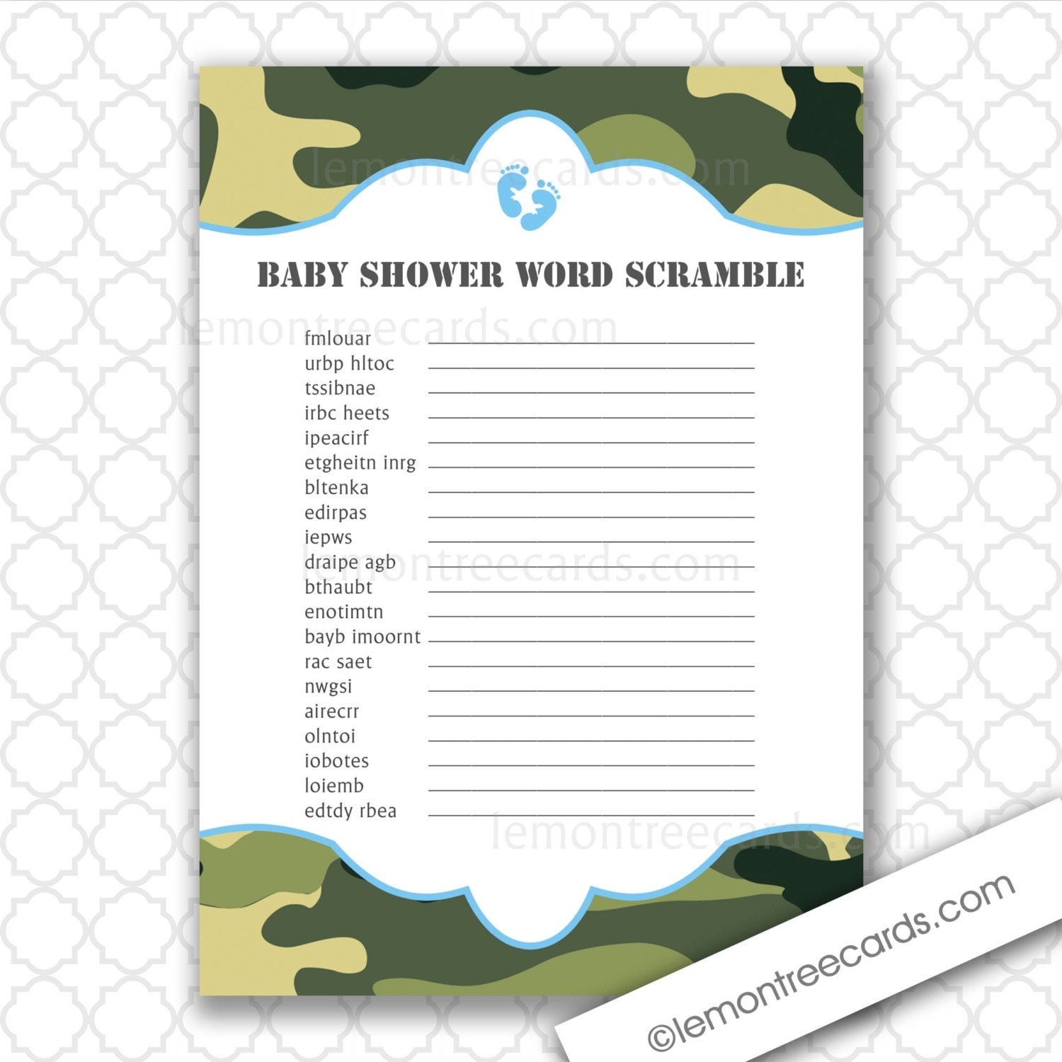 Baby Shower Word Scramble Game Instant Download By