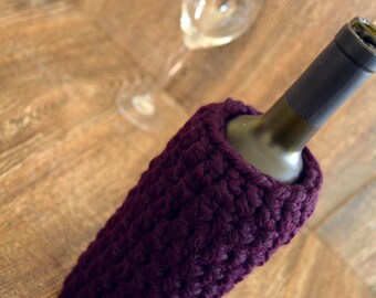Wine Bottle Cozy - Handmade Wine Bottle Cover - Wine Cozy in Purple - Hostess Gift - House warming gift