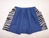 Denim and zebra elastic waist little girl skirt twirly pocket skirt size 2T pull-on skirt elastic waist