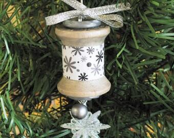 Vintage Wooden Spool Christmas Ornament