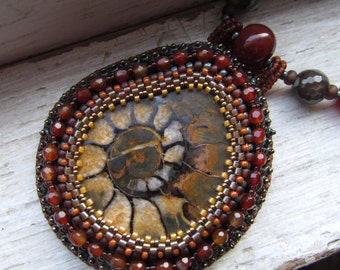 Ammonite Fossil  Bead Embroidery Pendant, Statement Necklace