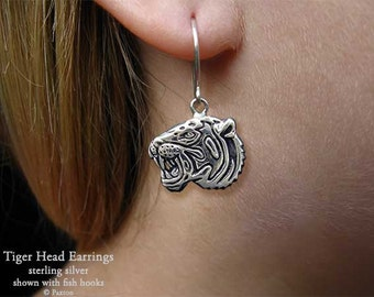 Tiger Head Earrings Sterling Silver Hand Carved & Cast Fish Hook or Post