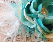 Breakfast at Tiffany's Couture Flower Headband Tiffany Blue and Ivory