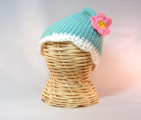 READY TO SHIP Crochet Baby Hat long-tail elf hat spring flower beanie hat flower hat baby girl spring hat Teal 0-3 mo
