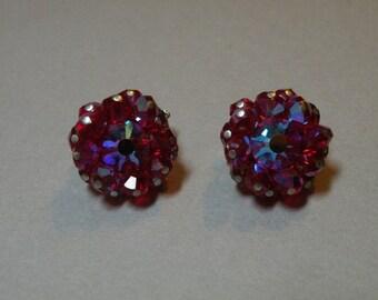 Vintage Hobe Ruby Crystal Earrings