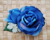 Special pin up blue rose hair flower with white delphinium and buds vintage rockabilly style very detailed top quality 40s 50s wedding bride
