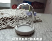 2sets - 25 x 38mm Glass Bell Bottle With Wooden Base Pendant - White