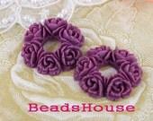 610-00-CA  4pcs Exquisite Round Rose Bouquet Cabochon ,Amethyst