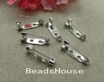 20 pcs High Quality Silver Plated Safety Pin Back Base,5 x 20 mm ,Nickel Free