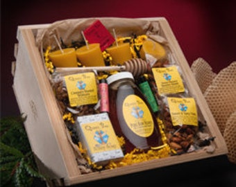 Queen Bee Honey Gift Basket made in Massachusetts