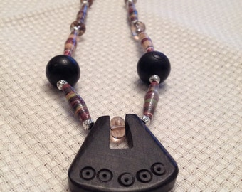 Brown earth tones,Rolled recycled paper bead necklace JN15007