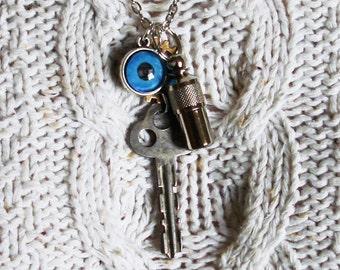 Boys Necklace Collage Assembly Steampunk Vintage Key   C 3-16