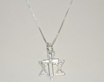 Messianic Star of David and Cross Two Charms Pendant and Box Chain Necklace - Real Sterling Silver 925 - Free Shipping Worldwide