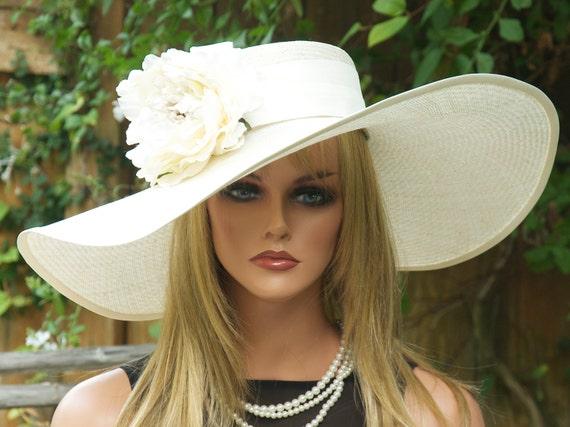 Kentucky Derby Hat, Wedding Hat, Cream Wide Brim Hat, Church Hat, Ascot Hat, Formal Hat, Occasion Hat
