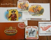 Vintage cigar box labels Lot of 7 brilliantly colored and embossed unused old stock Commoner King Vega Red Cloud Virtuola brands