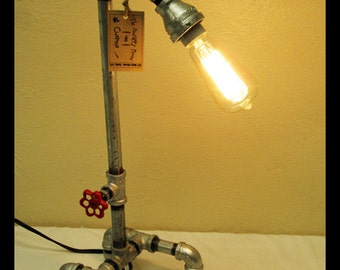 Steampunk Desk Lamp with Valve Switch