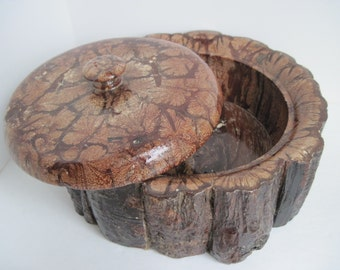 Exotic Wooden Box with Cover , Natural Edge Wooden Bowl