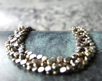 SALE Bracelet//Vintage Duo Toned Braided Dot Chain Bracelet//Sterling Silver Italian Bracelet Vermeil Highlights//Shimmering Bracelet