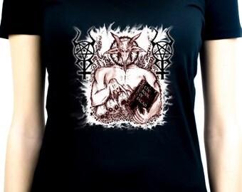 Satanic Baphomet Goat Devil Women's V-Neck Shirt Top