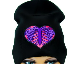Cute Purple Skeleton Rib Cage and Pink Heart Beanie Hat - EP-30-Beanie