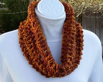 Burnt Orange Cowl, Small Infinity Scarf, Summer Scarf, Summer Cowl, Small Scarf, Crochet Scarf, Short Knit Scarf, Dark Orange Neck Warmer
