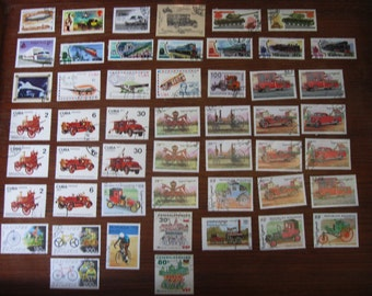 50 Postage Stamps TRANSPORTATION Planes, Trains, Automobiles, Bicycles, Tanks &  Dirigible STAMP SPECIAL: Any 3 sets for 12 Dollars