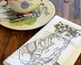 Cloth Napkins - Screen Printed Cotton Cloth Napkins - Eco Friendly Dinner Napkins - Cat - Kitty - Floral - Handmade Cotton Napkins