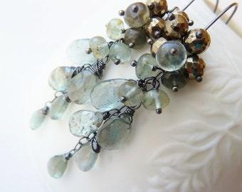 Moss Aquamarine Pyrite silver earrings. Dangle earrings. March Birthstone. Wire wrapped. Drop earrings. Artisan silver earrings.