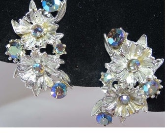 Blue Aurora Borealis Rhinestones. Clip On Earrings Silver Plated Apparel & Accessories Jewelry Vintage Jewelry Earrings Clip On Rhinestone